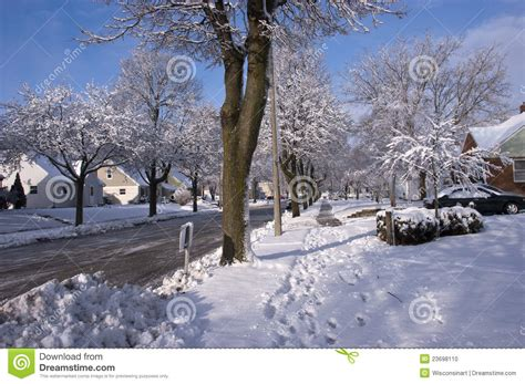 City Homes by City In Winter Houses Homes Neighborhood Snow Stock
