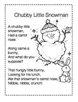 googlechristmas songs for the kindergarten snowman poem printable search ideas kindergarten