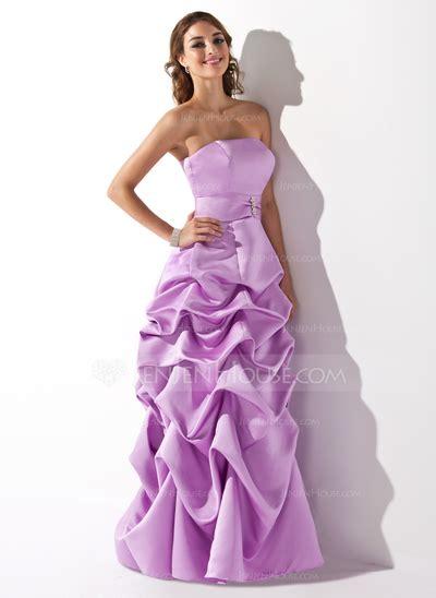 Dress Wanita Azzurra 348 48 a line princess strapless floor length satin bridesmaid dress with ruffle beading 007001818