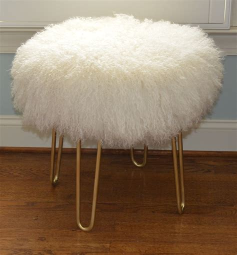 mongolian fur stool real white mongolian fur stool tibet bench brass