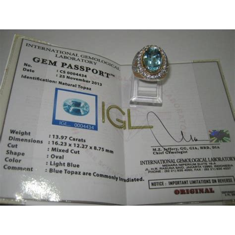 Diskon Multieffect Joyo Gem Box Original cincin perak ring 11 5us batu mulia blue topaz 13 97 carat