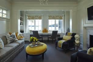 Yellow Gray And Blue Bedroom - yellow and gray family room transitional living room martha o hara interiors