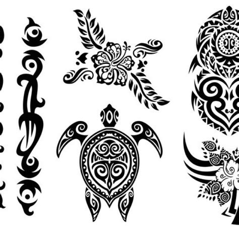 free vector hawaii tribal set in black and white 34280