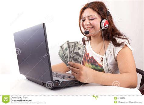 Women Make Money Online - make money stock photos image 26109073