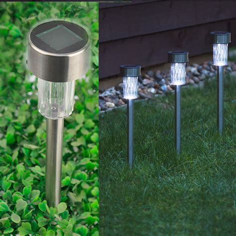 Patio Solar Lights 10 X Solar Powered Stainless Steel Led Post Lights Garden Outdoor Rechargeable Ebay