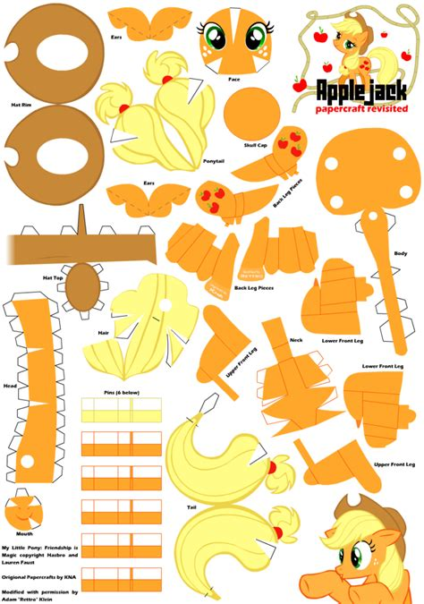 Free Paper Craft Patterns - applejack 2 papercraft pattern by rettro on deviantart