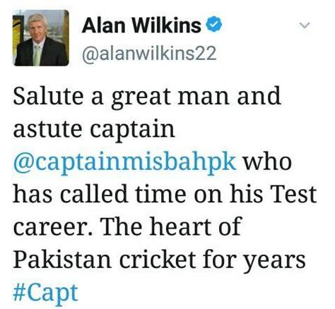 alan wilkins tweet about misbah cricket images & photos