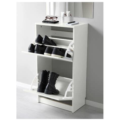 shoe cabinet with 2 compartments ikea bissa shoe cabinet with 2 compartments white color