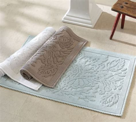 Wash Bathroom Rugs Isaac Floral Sculpted Bath Rug Pottery Barn