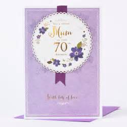 70th birthday card rosette purple only 163 1 49