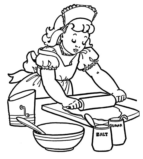 Baking Coloring Pages vintage coloring image baking the