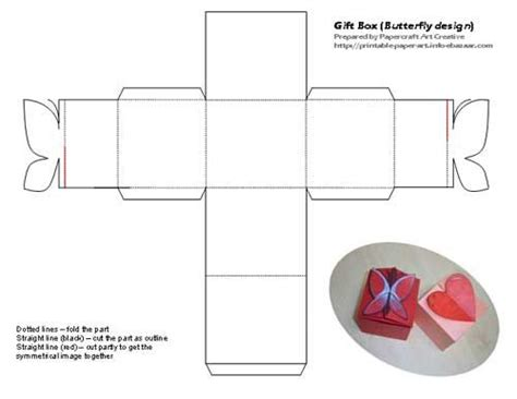 printable butterfly and heart shaped tiny gift box