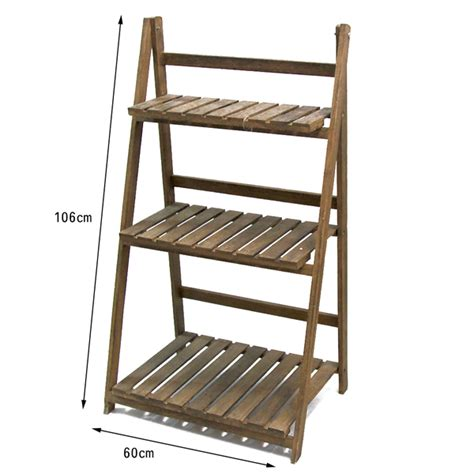 Tiered Pot Rack by Large Wooden Brown Garden Home Plant Pot Rack 3 Tier Shelf Planter Stand Storage