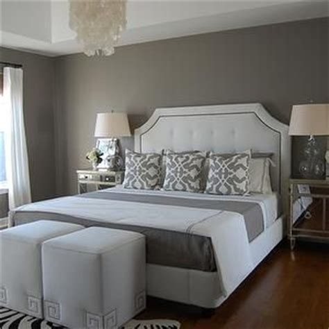 gray bedroom paint white tufted headboards and capiz chandelier on