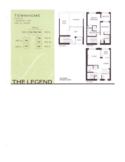 floor plan legend the legend floor plan level 2 south view type f