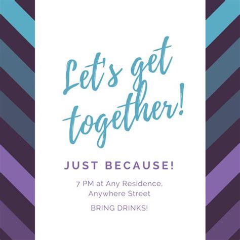 get together invitation card template violet and blue diagonal lines get together invitation