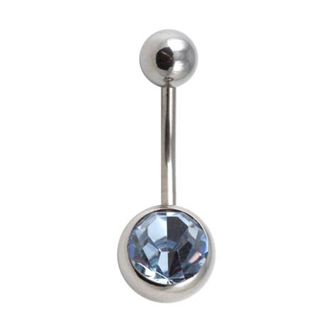 light blue belly button ring buy 316l steel belly bar navel button ring w light blue