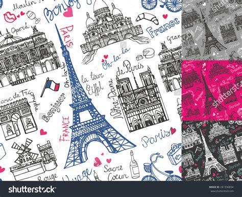 travel pattern in french paris landmark lettering seamless pattern set vintage