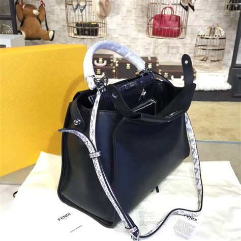 Jual Handbag Fendi Black With Box Mirror Quality designer discreetfendi peekaboo counter quality replica