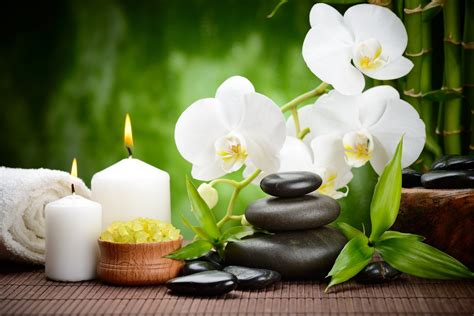 imagenes zen con velas stones black massage spa flower orchid bamboo candles