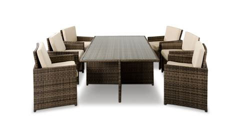 6 Chair Patio Set Barcelona Rectangular Compact Table 6 Fold Out Chairs
