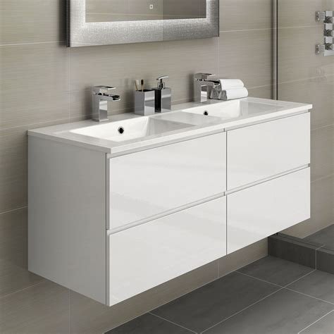 bathroom with double sink white double basin bathroom vanity unit sink storage