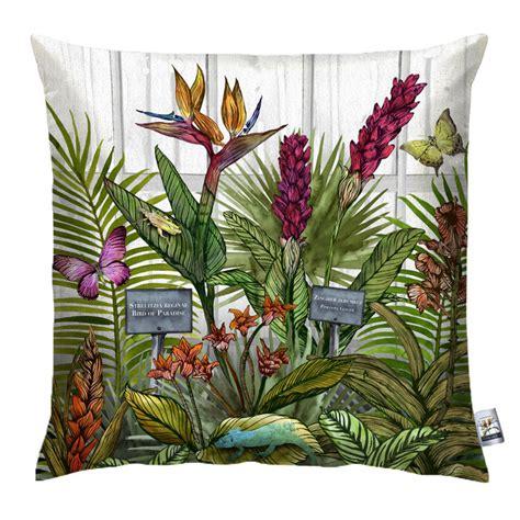 glasshouse tropical botanical print wallpaper by terrarium glasshouse tropical botanical print cushion by terrarium