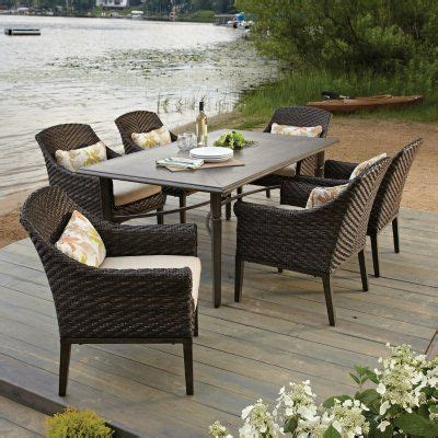 Sam S Club Elijah 7 Piece Dining Set With Premium Outdoor Fabric For Patio Furniture