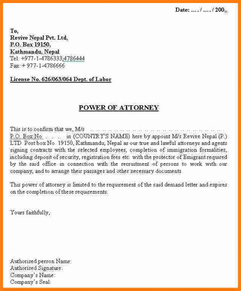 Power Of Attorney Resignation Letter Sle 14 Simple Power Of Attorney Letter Template Ledger Paper