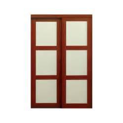 Sliding Glass Closet Doors Lowes Shop Reliabilt 3 Lite Frosted Glass Sliding Closet Interior Door Common 48 In X 80 In Actual