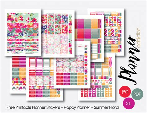 happy planner printable free monthly set summer floral planner addiction