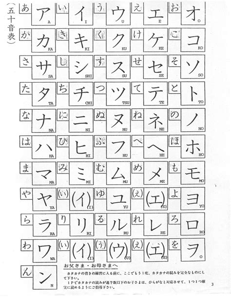 printable japanese alphabet flash cards katakana chart printable