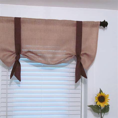 Custom burlap window valance tie up curtain by