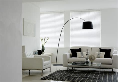 Living Room With White Wood Blinds Wood Venetian Shadow Blinds