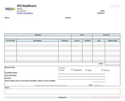 medical records invoice form