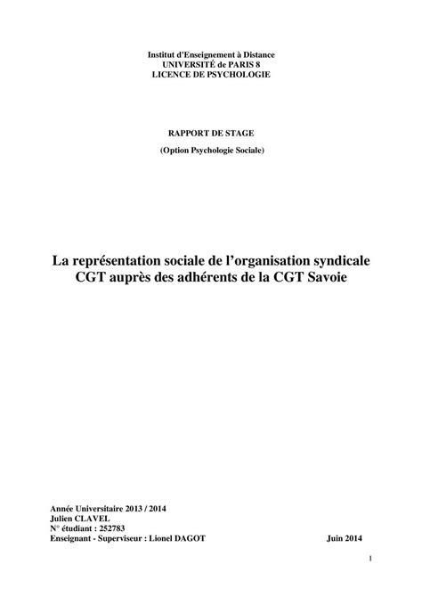 Calaméo - Représentation sociale: rapport de stage CGT 73