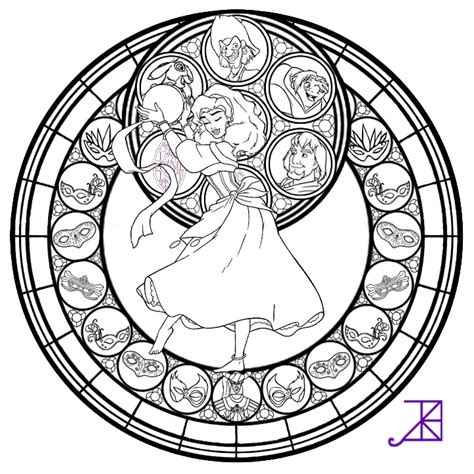 disney mandala coloring pages esmeralda stained glass line by akili amethyst