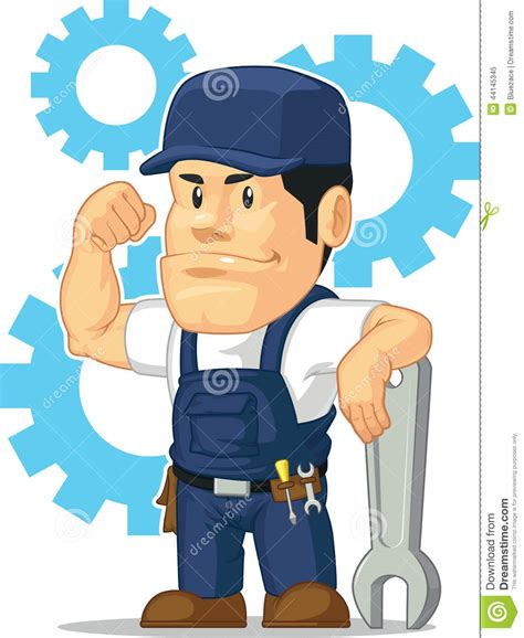 6 Car Garage Plans cartoon of strong mechanic with wrench stock vector