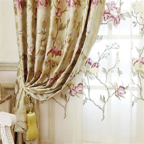gold floral curtains gold floral european style blackout curtain for living room