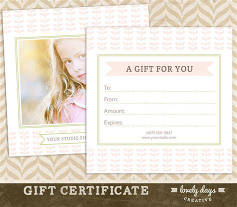 sle gift vouchers templates photography gift certificate template for professional