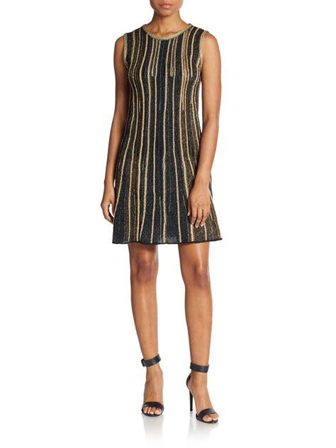vertical design clothes m missoni lurex vertical stripe a line dress in blue lyst