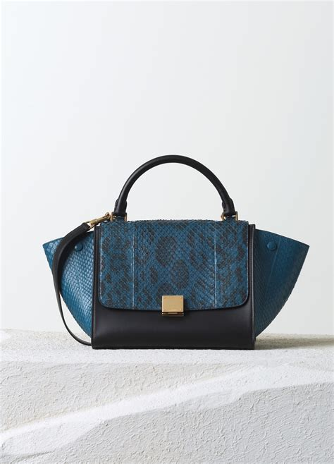 trapeze bag with python leather