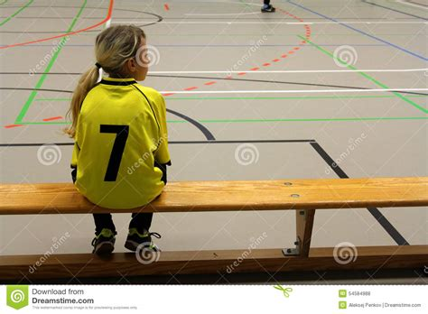 soccer player bench girl soccer player stock photo image 54584988