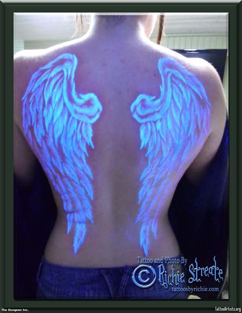 glow in the dark angel wings tattoo angel wings black light tattoos for men pinteres