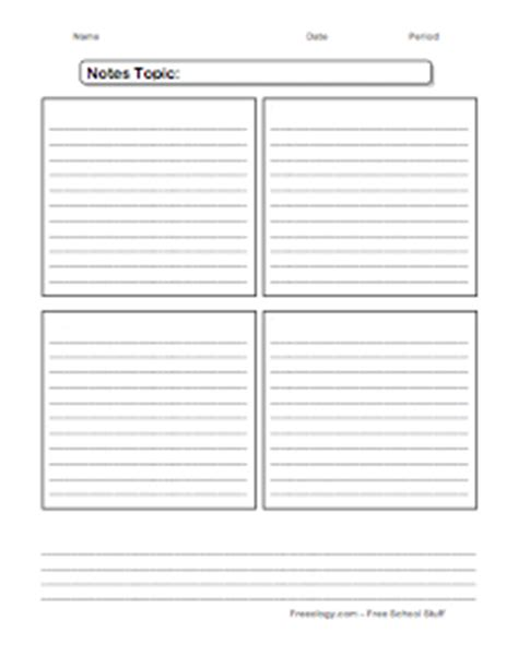 Note Taking Organizer Freeology Note Taking Template