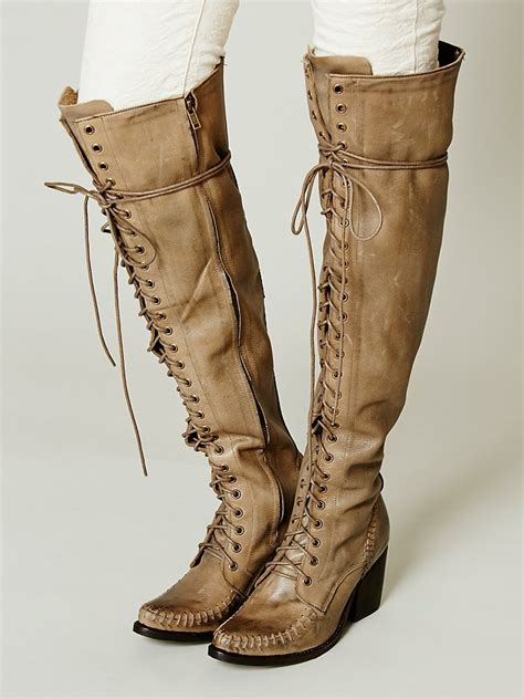 vintage lace up knee high boots chunky heel