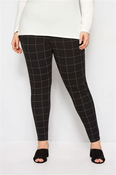 Text Decoration Italic by Plus Size Black White Check Harem Trousers Sizes 16 To