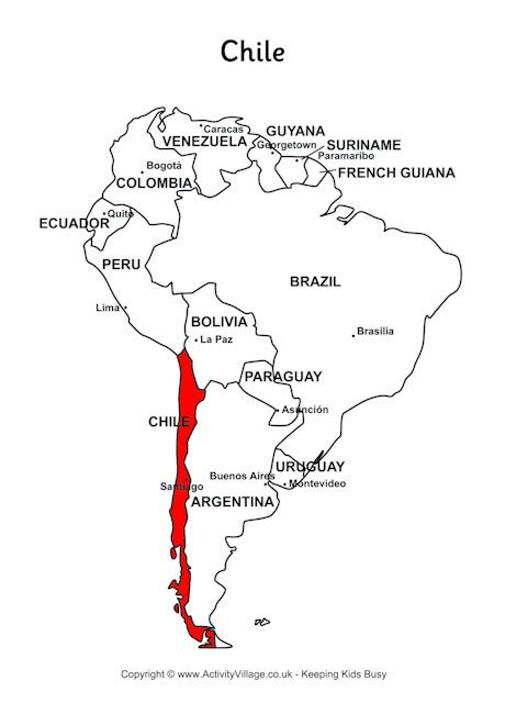 coloring page map of chile chile on map of south america