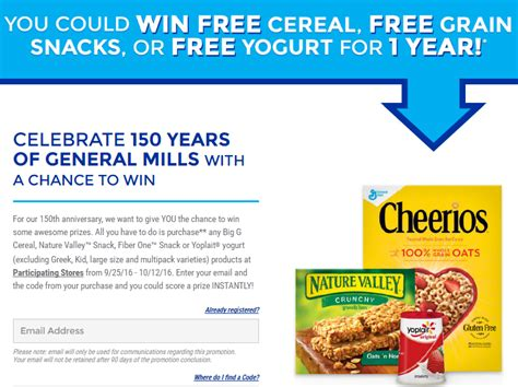 General Mills Sweepstakes - general mills anniversary sweepstakes win free cereal grain snacks or yogurt for a year