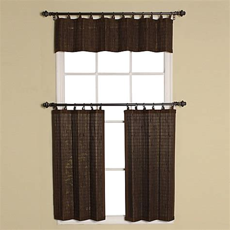 bamboo tier curtains easy glide all natural bamboo ring top window curtain tier